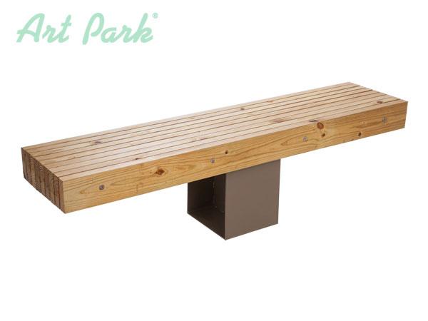 Дървена пейка Баку със стоманена основа