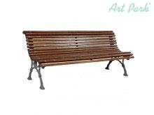 Градинска дървена пейка с крака от прахово боядисан чугун
