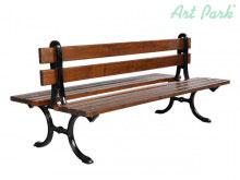 Нестандартна дървена двойна пейка с чугунени крака