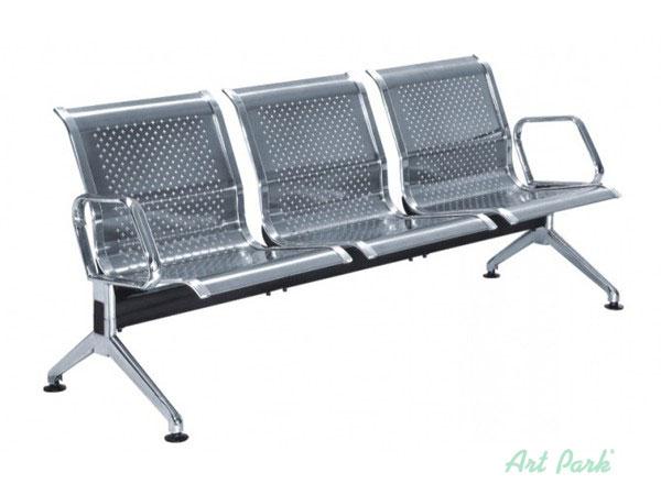 Хромирана офис пейка с 3 седалки